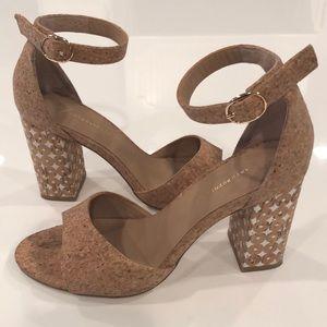 Anthropologie Cork Heeled Sandals size 7 1/2